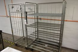 Two various mobile steel wire transport cages