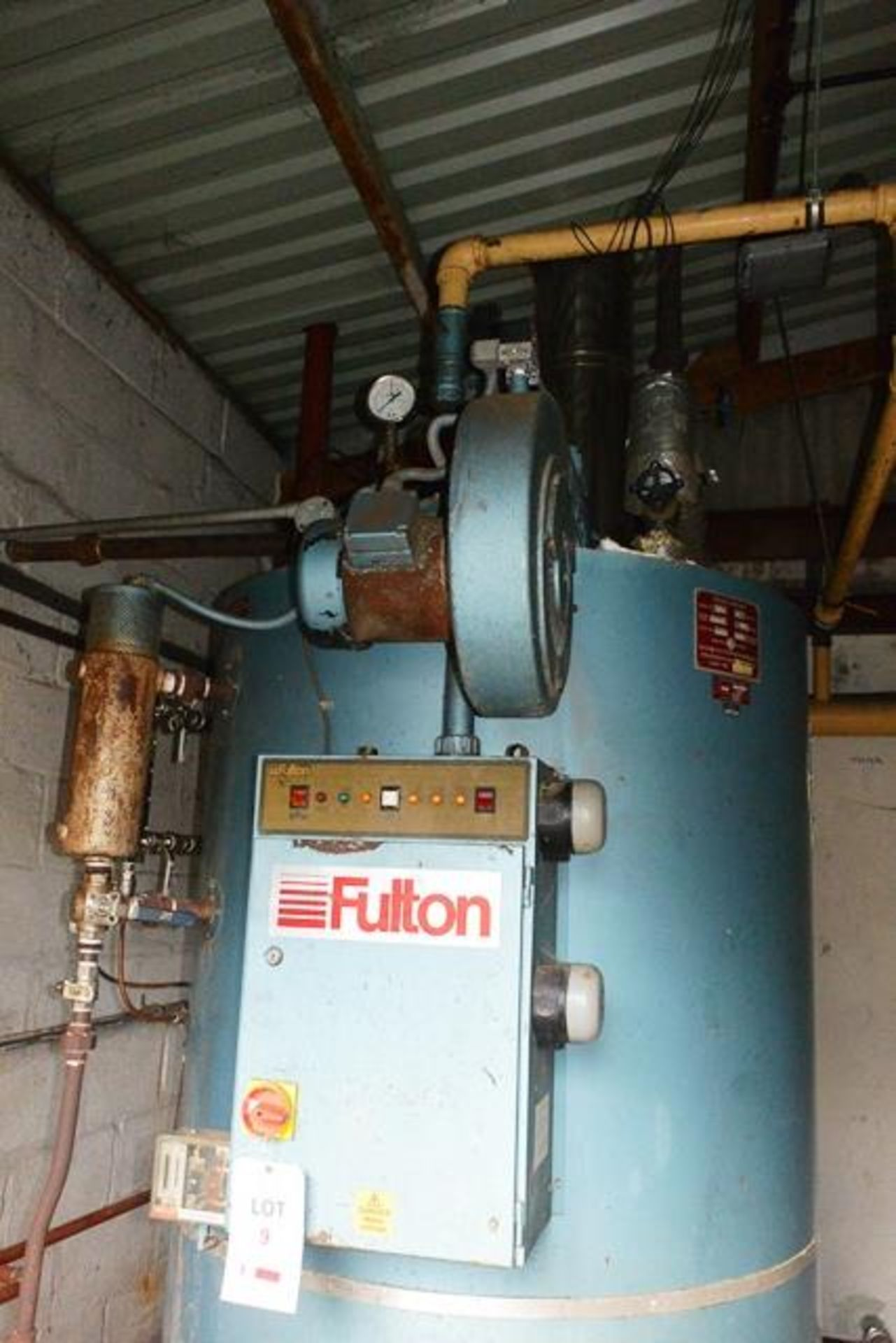 Fulton steam boiler, model 30E, serial no. B7026, design pressure 895 N/mm², test pressure /34N/ - Image 3 of 11