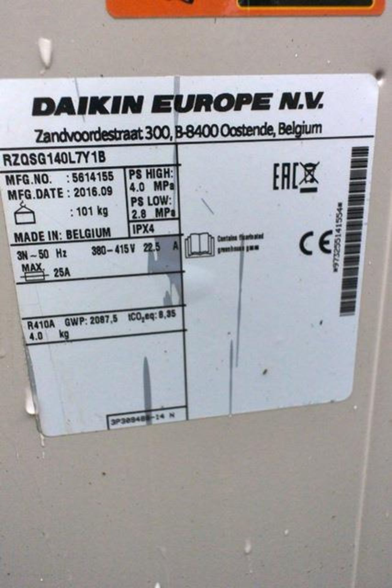 Two Daiken RZQSG140 L7Y1B, serial nos. 5614161 and 5614155, refrigerant R410A (2016) (PAC 021 & - Image 2 of 2