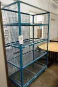 Four shelf steel wire transport cages (open front)