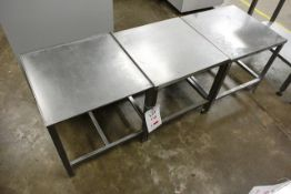 Three square stainless steel tables, approx dimensions to be confirmed shortly