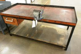 Steel twin level rectangular workbench, approx 1850 x 780mm, with Record No. 5 vice