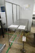 Stainless steel mobile rectangular table, with rear frame