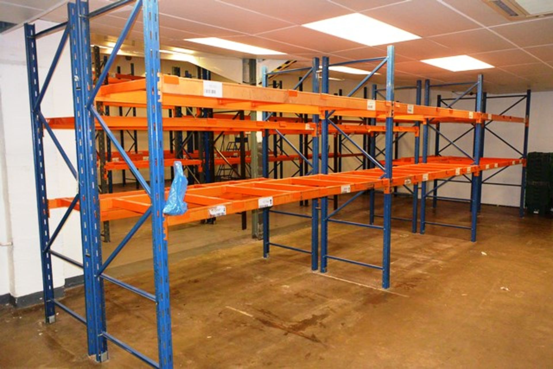 Six bays of adjustable boltless pallet racking, approx 2600 height, 2750mm width per bay (Please
