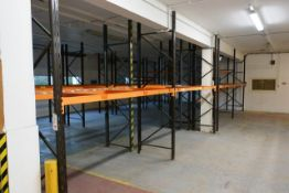 Four bays of adjustable boltless pallet racking, approx height 3000mm, 2750mm width per bay (