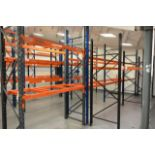Five bays of adjustable boltless pallet racking, approx height 2600 - 3000mm, approx bay width range