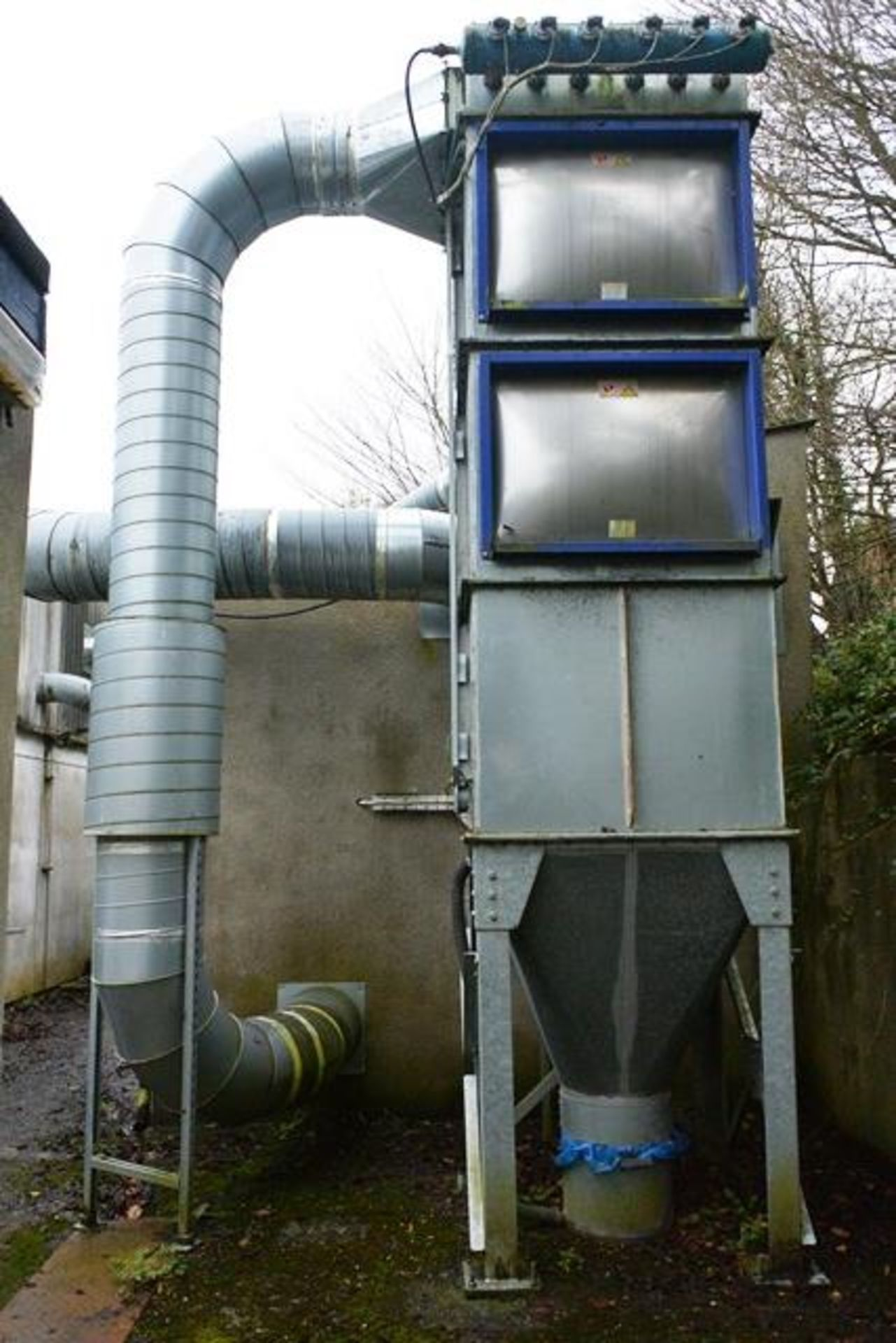 Galvanised steel 6 sock/bag extraction unit, with Cyclone fan unit, silo approx 5m x 1.2m x 1.2m (