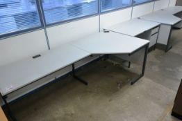 Three various grey/steel frame desks and two 3 drawer pedestal units