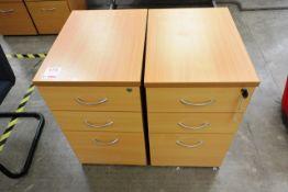 Two light oak effect 3 drawer pedestal units