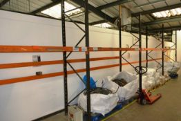 Four bays of adjustable boltless pallet racking, approx height 3000mm, approx bay width 2750mm (