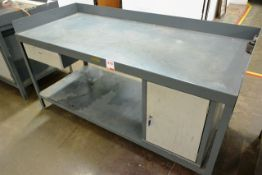 Steel twin level rectangular workbench, approx 1800 x 780mm