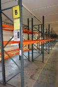 Nine bays of adjustable boltless pallet racking, approx height 3000mm, 2750mm width per bay (