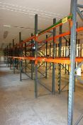 Five bays of adjustable boltless pallet racking, 4 x approx height 2750mm, 1 x 1800mm, 2750mm