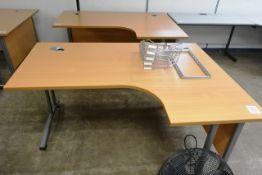Two light oak effect L shape desks, approx 1600 x 1200mm