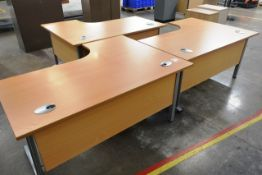 Three L shape desks, approx 1800 x 1200mm