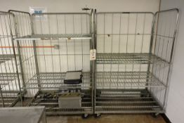 Two mobile steel wire transport cages
