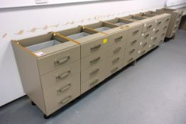 Eight Ultima 4-drawer, modular carcass units (as lotted), no worktop (please note: will require