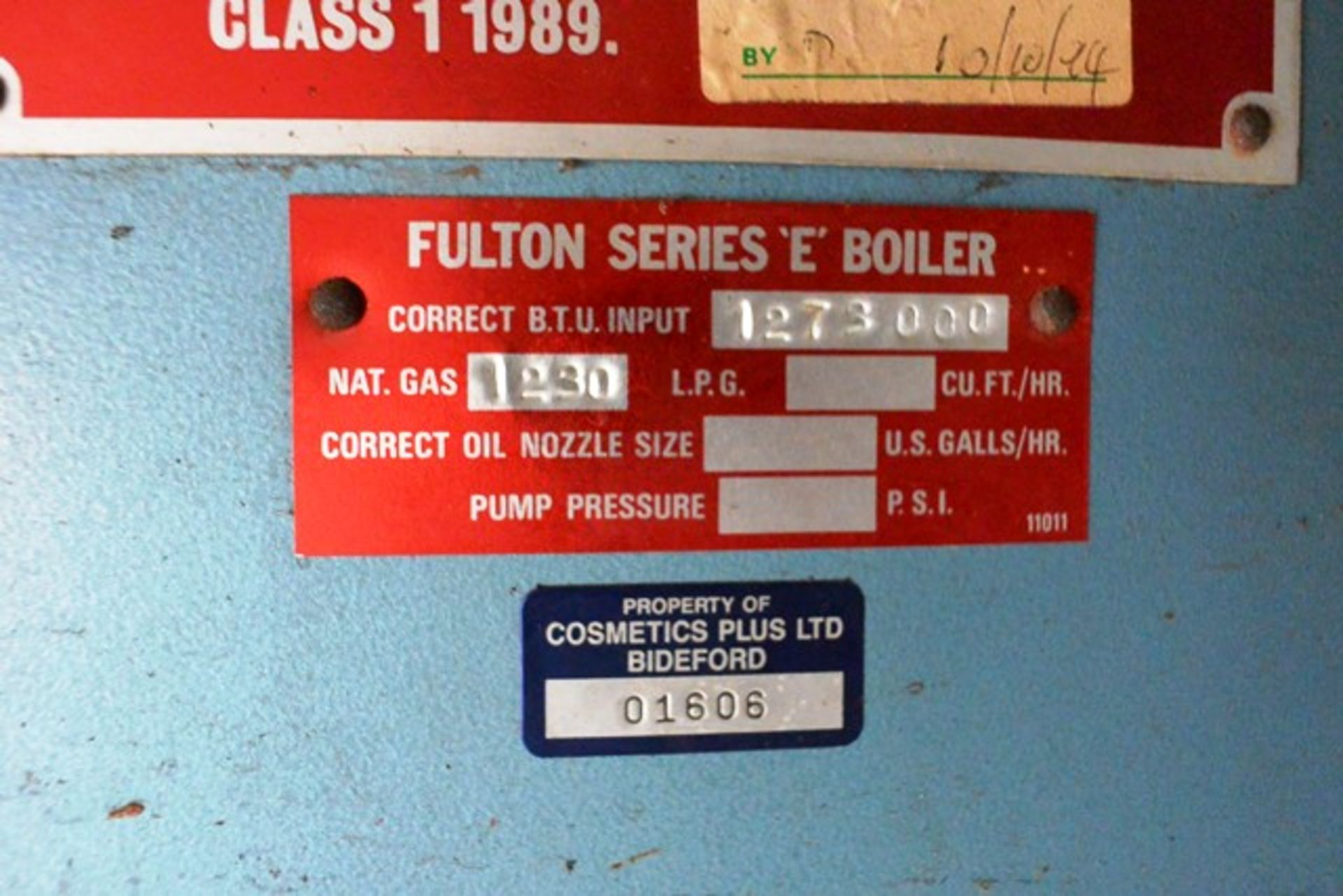 Fulton steam boiler, model 30E, serial no. B7026, design pressure 895 N/mm², test pressure /34N/ - Image 6 of 11