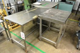 Three various stainless steel tables, approx dimensions to be confirmed shortly