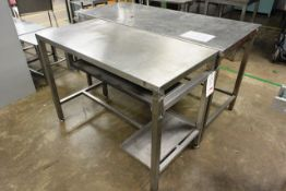 Two various stainless steel tables, approx dimensions to be confirmed shortly