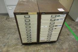 Two steel frame 10 drawer filing cabinets