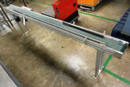 Horizontal powered belt conveyor, approx length 2400mm, belt width circa 150mm (working condition