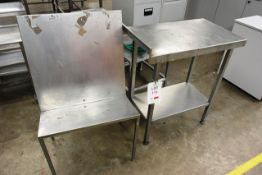 Stainless steel side table, approx dimensions to be confirmed shortly and stainless steel rack