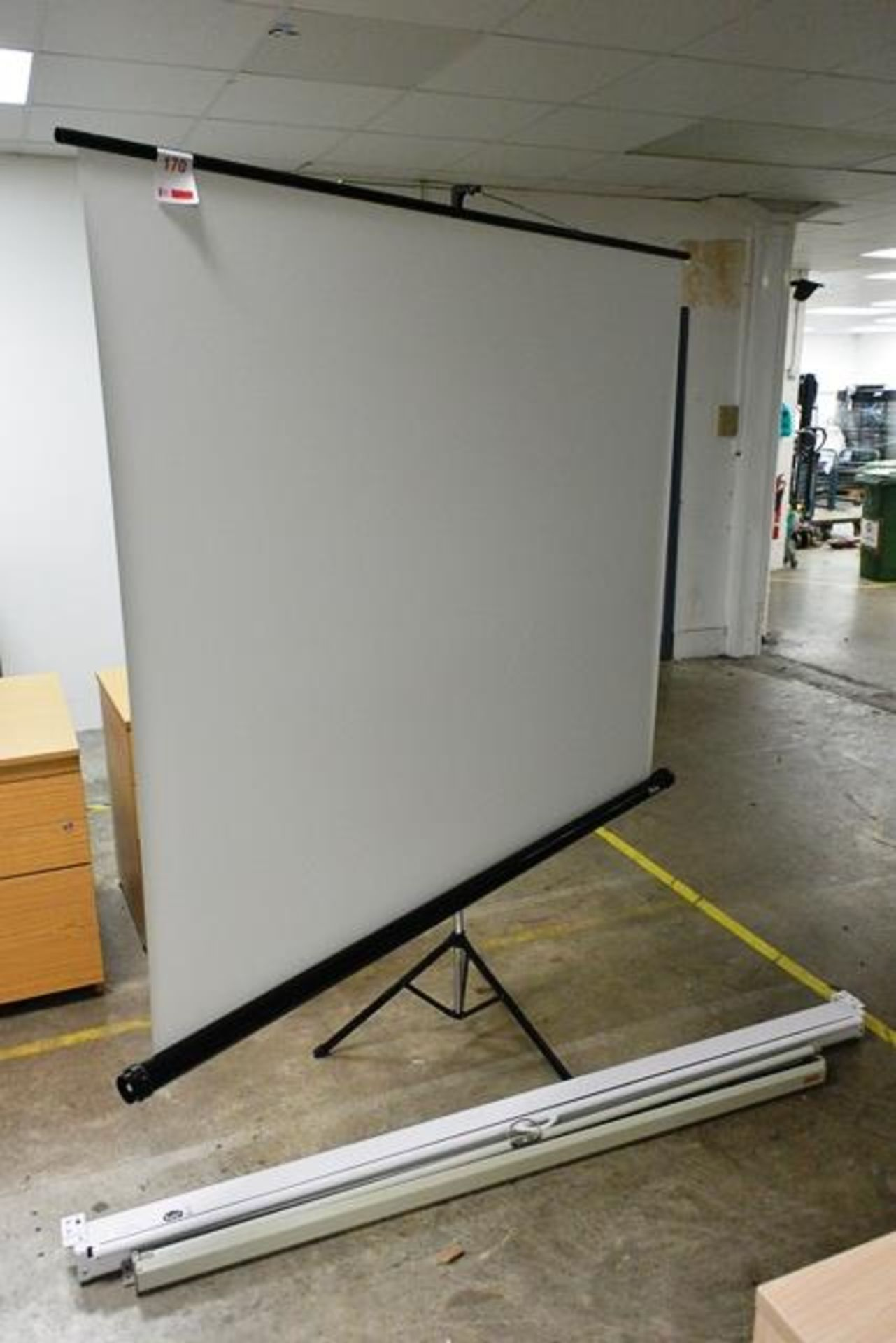 Three various pull down projector screens, approx 1800mm width