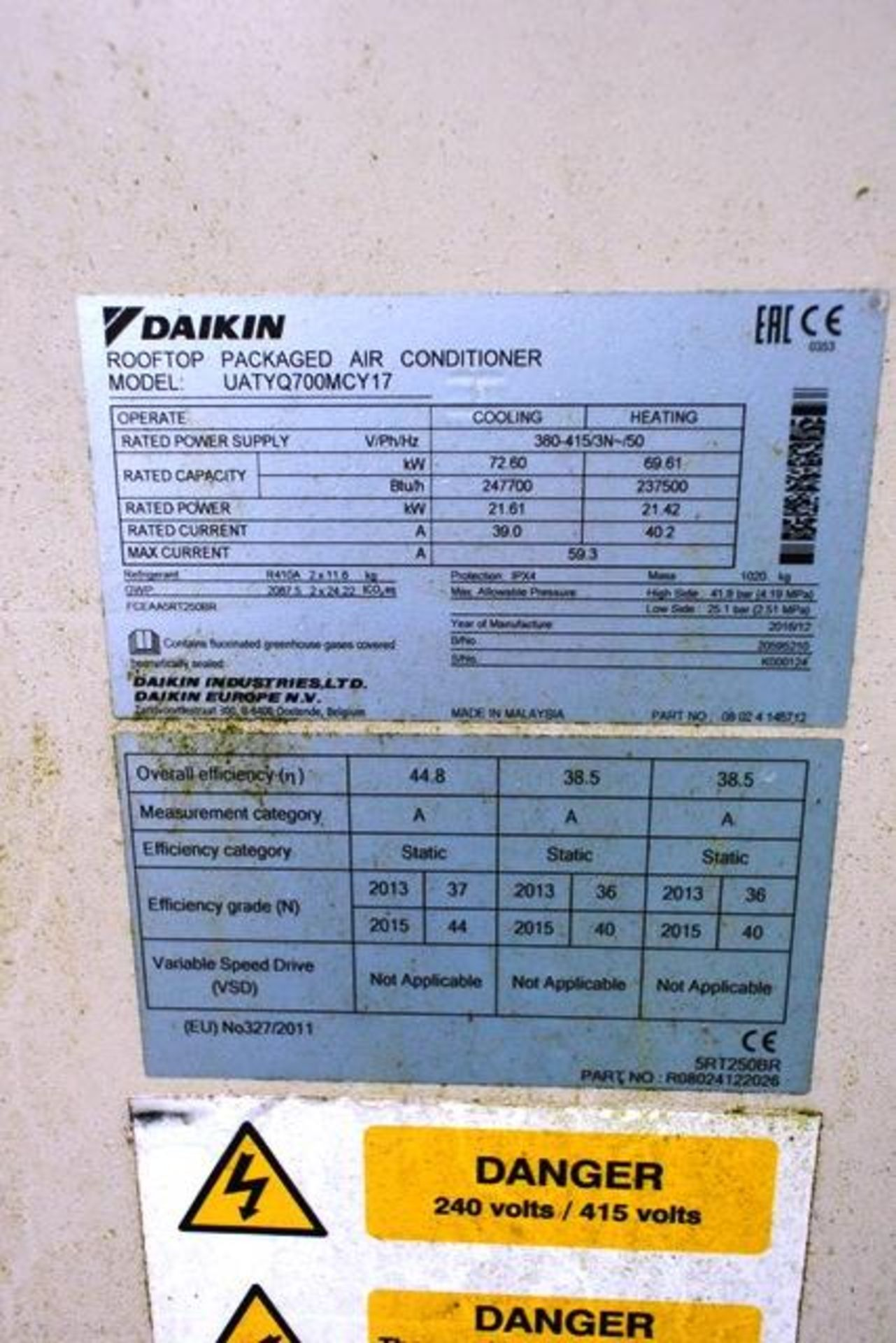 Daiken UATY Q700MCY17 rooftop packaged air conditioner, serial no. K000124 (2016), R410A, rated - Image 2 of 2