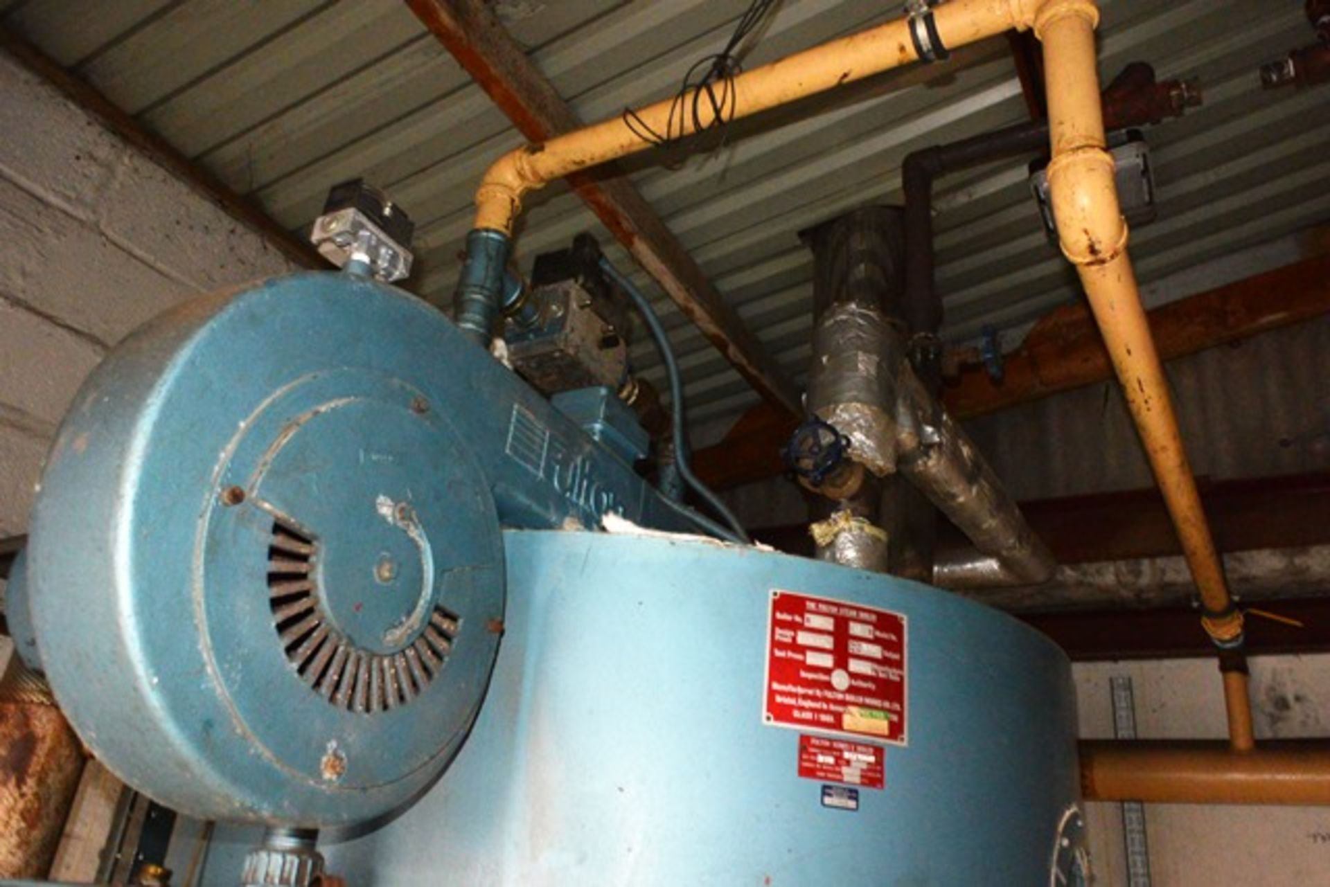 Fulton steam boiler, model 30E, serial no. B7026, design pressure 895 N/mm², test pressure /34N/ - Image 10 of 11