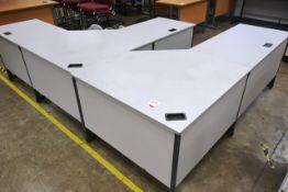 Two various grey L shape desks