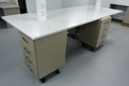 Rectangular worktop, approx 3 x 1.2m, with four 4-drawer modular carcass units (please note: will