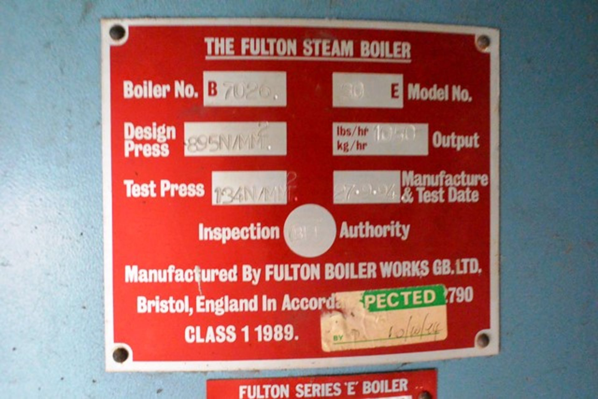 Fulton steam boiler, model 30E, serial no. B7026, design pressure 895 N/mm², test pressure /34N/ - Image 5 of 11