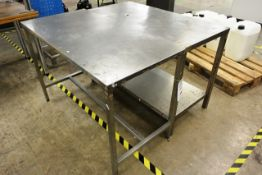 Two Hygienox stainless steel tables, approx dimensions to be confirmed shortly