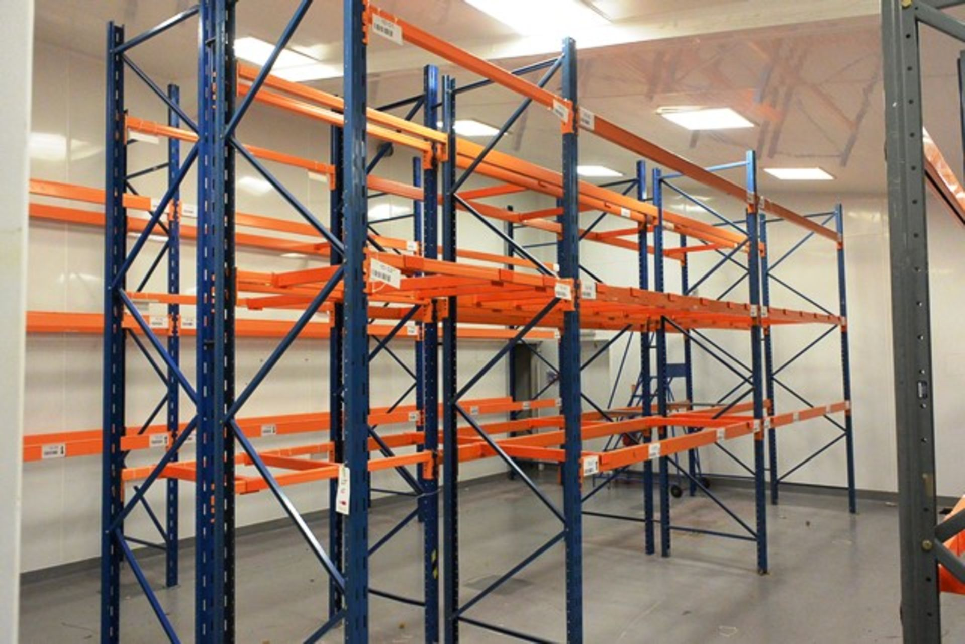 Six bays of adjustable boltless pallet racking, approx height 3400mm, 4 x bays 2750mm width, 2 x