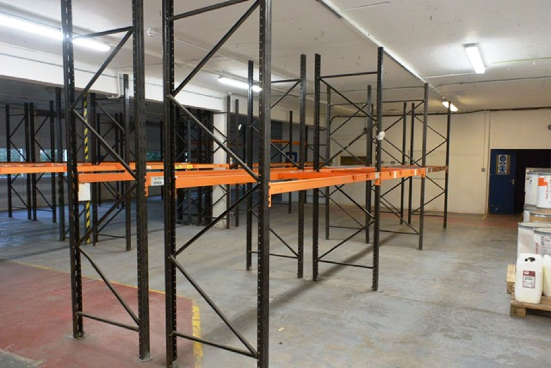 Six bays of adjustable boltless pallet racking, approx height 3000mm, 2750mm width per bay (Please