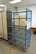 Mobile 5 shelf steel wire transport cage (open front)