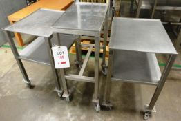 Three various stainless steel mobile trollies/tables