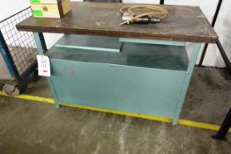 Steel frame timber topped workbench