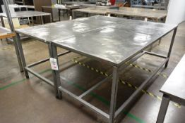 Two steel frame stainless steel topped tables, approx dimensions to be confirmed shortly