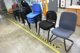 Approx twenty seven various plastic/cloth upholstered chairs