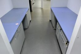 Two Köttermann wall mounted U shape lab/workbenches, with 3 cupboards and 4 drawers, approx