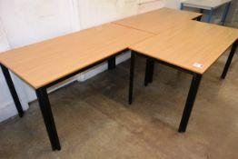 Three light oak effect rectangular tables, approx 1500 x 750mm
