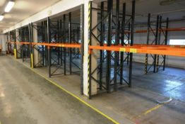 Seven bays of adjustable boltless pallet racking, approx height 2700mm, 2750mm width per bay (Please