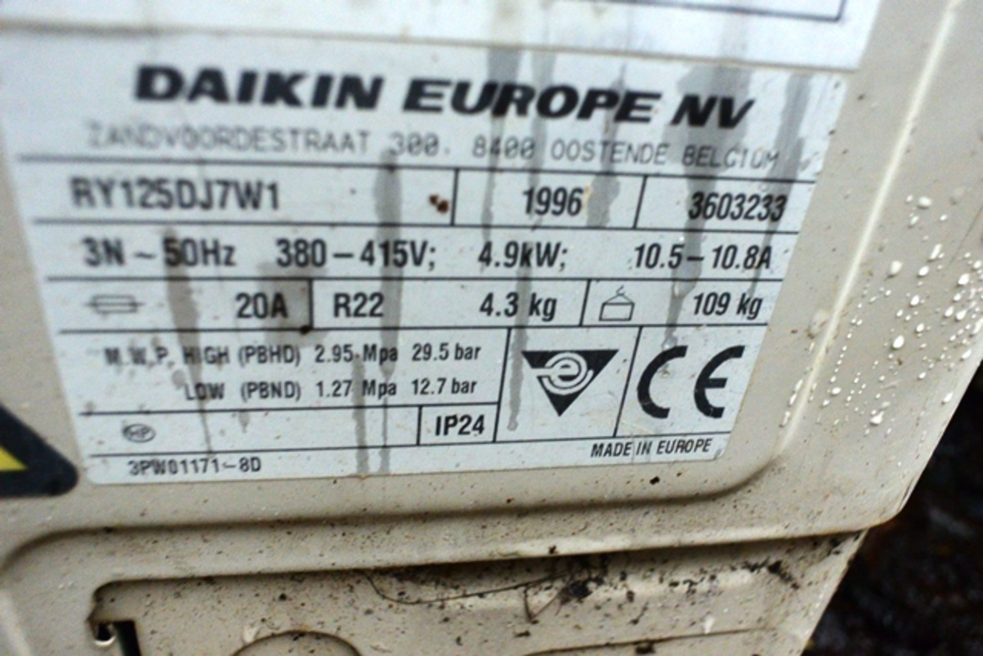 Daiken Skyair RY 125 DJ721, serial no. 3603233 (1996), refrigerant R22 (Please note: units have been - Image 2 of 3