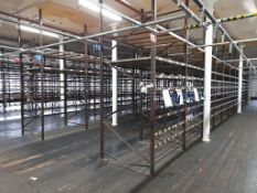 Light duty metal storage shelving racking - 115 bays, each with 5 pairs of beams and 20 metal