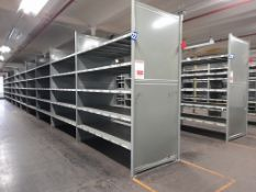 Heavy duty metal storage shelving - 86 bays, each with 5 pairs of beams and 35 metal shelf
