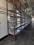 Light duty metal storage shelving racking - 35 bays, each with 4 pairs of beams and various