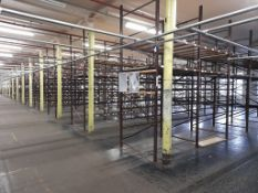 Light duty metal storage shelving racking - 105 bays, each with 5 pairs of beams and 20 metal