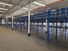 Static pallet racking - 65 bays, each with 3 pairs of beams and 24 metal shelf partitions(Beam width